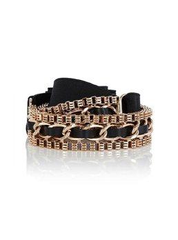 cinturon negro con cadena dorada